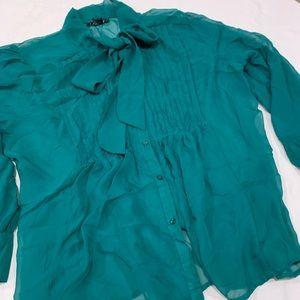 3x Green Sheer Bow blouse